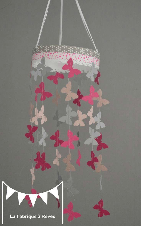 mobile papillon rose podr gris rose fuchsia dcoration chambre enfant bb fille dcoration mixte mariage baptme - Deco Gris Et Rose Chambre Fille