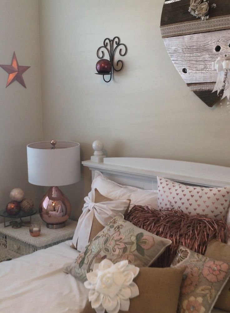 Rose gold and burlap bedroom decor
