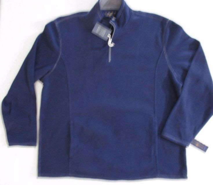 Club Room Men Sweatshirt 2XL Navy Solid 1/2 Zipper Polar Fleece Polyester 1700A #ClubRoom #FleeceTops