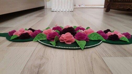 Keçe çiçekli runner/ felt flower runner