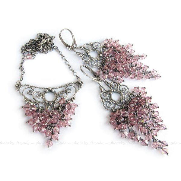 #filigree #silver #earrings #necklace #handmade #amade #swarovski #bridal #wedding #jewellery