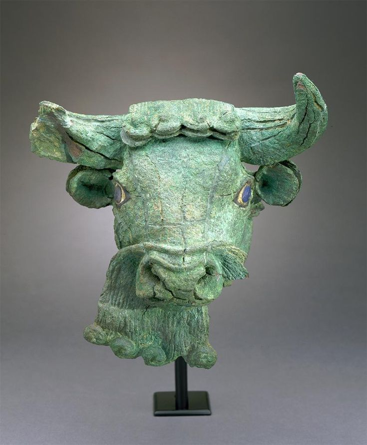 Copper Bull's Head with Lapis Lazuli Eyes. Sumerian. 27th c. B.C.