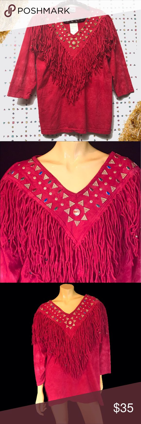 "•♦️👹 80s Western Embellished Fringe Shirt 👹♦️• Fringe on fringe ‼️❣️ This lioness of a neckline is bedazzled to high haystack heavens with textured teal red and gold triangular studs ⭐️🔸🏵 . • Shileh Artwear • 💯% Cotton • Made in U.S.A 🇺🇸 • M • Fit L - XL • . • Bust: 46"" - 50"" • • Waist: 46"" - 50"" • • Length: 29"" • • Shoulder: 25"" • • Sleeve: 16"" • . . . • * • . • ✶ • . • * •. #vintage #vtg #retro #1980 #1980s #80s #80 #wild #western #westernwear #funky #beaded #fringe #bedazzled…"