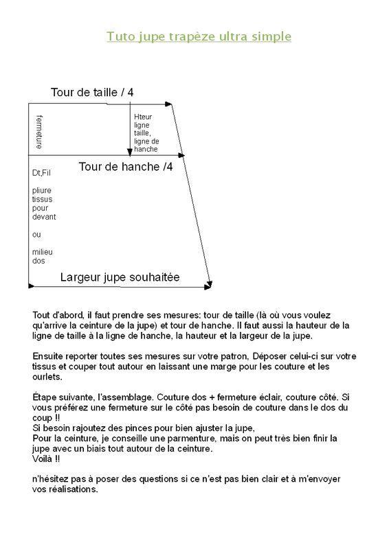 jupe trapèze ultra simple..si fermeture sur le coté , couper 2 pièces et non 3!