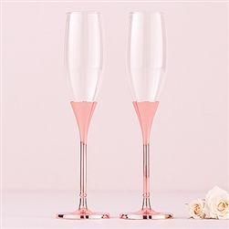 Wedding Toasting Flutes - Rose Gold Diamond Glitter