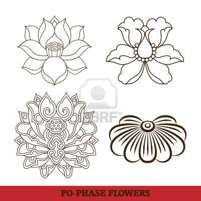 chinese virtual po-phase flowers pattern sets: lotus,Paeonia suffruticosa, chrysanthemum composition Stock Photo