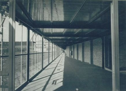 Walter Peterhans, photograph of a walkway at the Federal School of Free Trade Unions (ADGB), Bernau bei Berlin, taken c.1930. The building was designed by Hannes Meyer, Hans Wittwer and students of the building class at the Dessau Bauhaus.