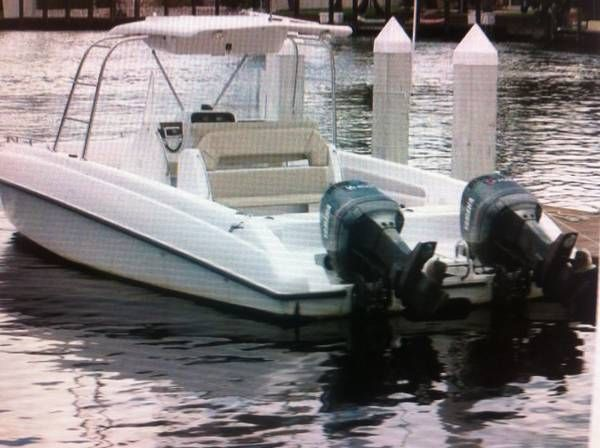 30'catamaran, does 60 mph w twin 250 Yamahas, this is a center console boat with a 10.6'beam, and this big cat is the big dog! Hard top , electronics locker, seats 16 people , fresh water wash down, call rob for more info………… Click on the blue area code to get the rest of the phone number show contact info. Price $21,500