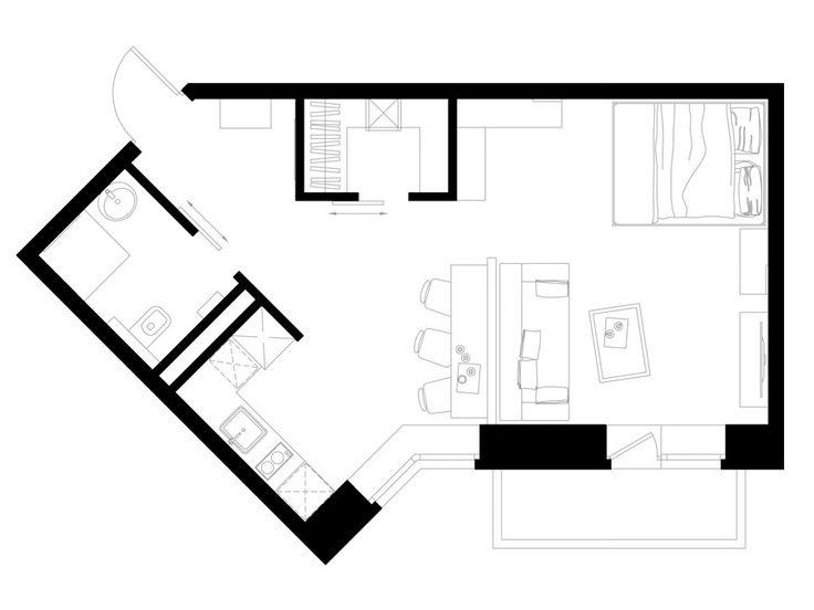 планировка студии 40 кв. м.