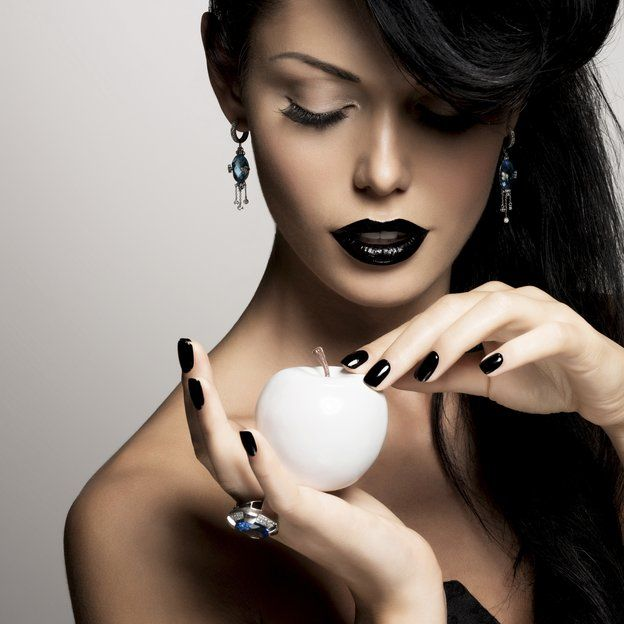 Woman wearing black lipstick