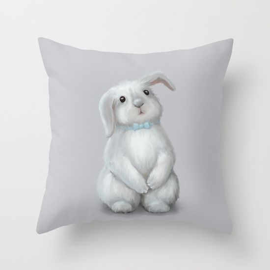 White Rabbit Boy Throw Pillow on @society6 Buy print and other product with my fine art  online:  https://society6.com/oxygen White cute bunny rabbit Digital illustration for kids isolated on white #Animals #ArtForHome #FineArtPrints #InteriorDesign #OksanaAriskina  #HomeDecor #FineArtPrint #Wall #PrintsForSale  #Illustration #Watercolor