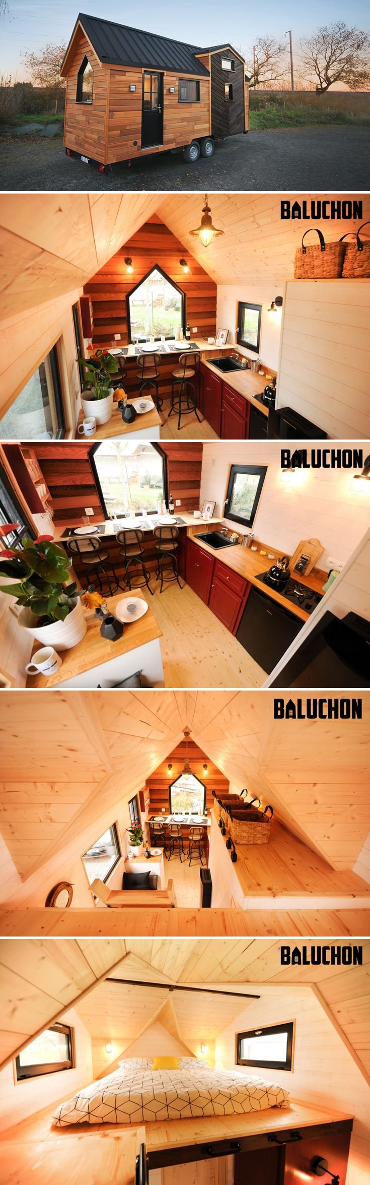 The Calypso is a traditional tiny house built by Baluchon in Nantes, France. The cedar exterior has a Yakisugi highlight, giving it a distinctive design.