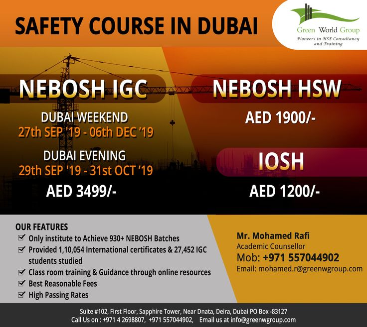 Best Institute for Health and Safety Course in Dubai