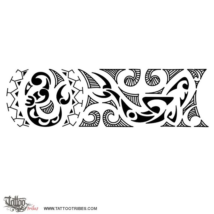Polynesian wrist band, New start, strength: This wrist band tattoo incorporates some elements representing a new start (koru), protection and balance (manaia) and strength and adaptability (shark)