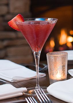 SMITTEN STRAWBERRY MARTINI Kettle One Citroen Vodka, St. Germain, Fresh Muddled Strawberries, Prosecco Floater