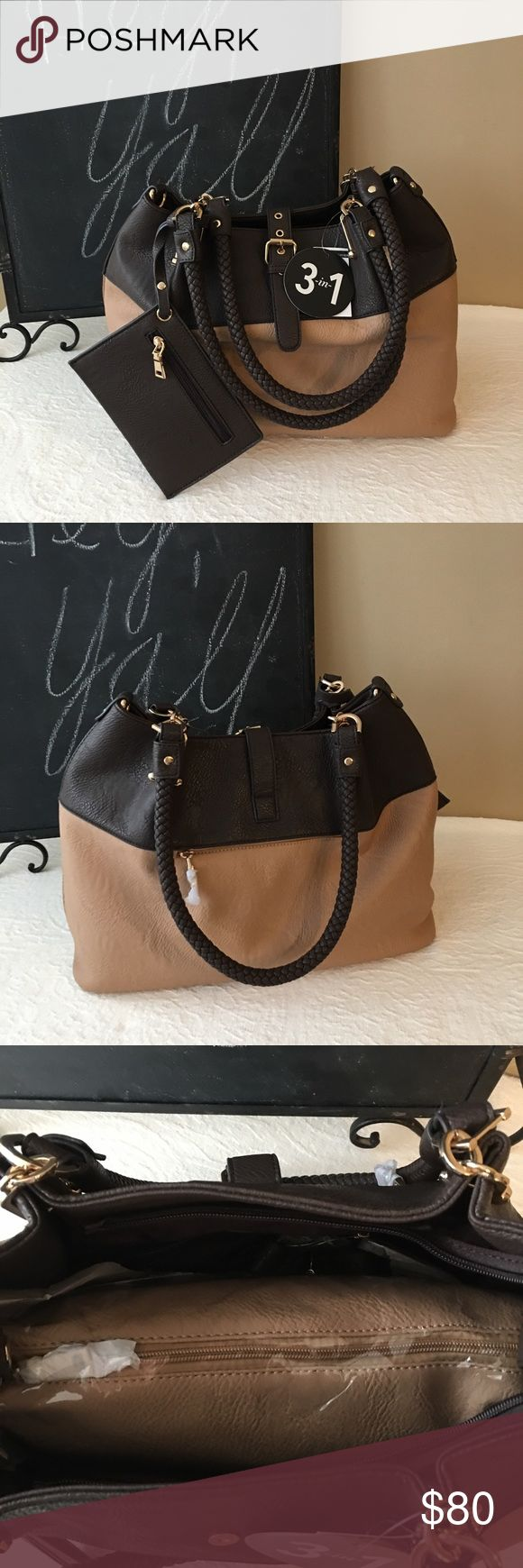Wilson's Leather Black Rivet 3 in 1 carryall tote Large