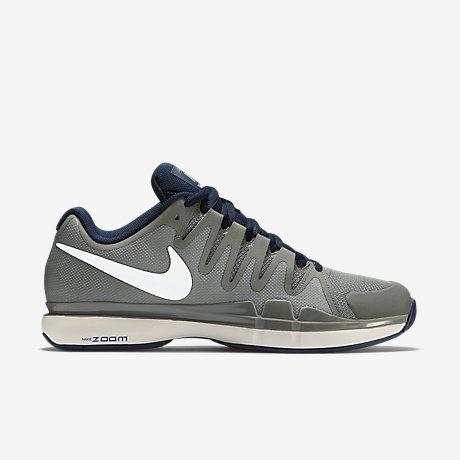 NikeCourt Zoom Vapor 9.5 Tour Men's Tennis Shoe $135 Tumbled Grey/Midnight Navy/Phantom/White 631458-014