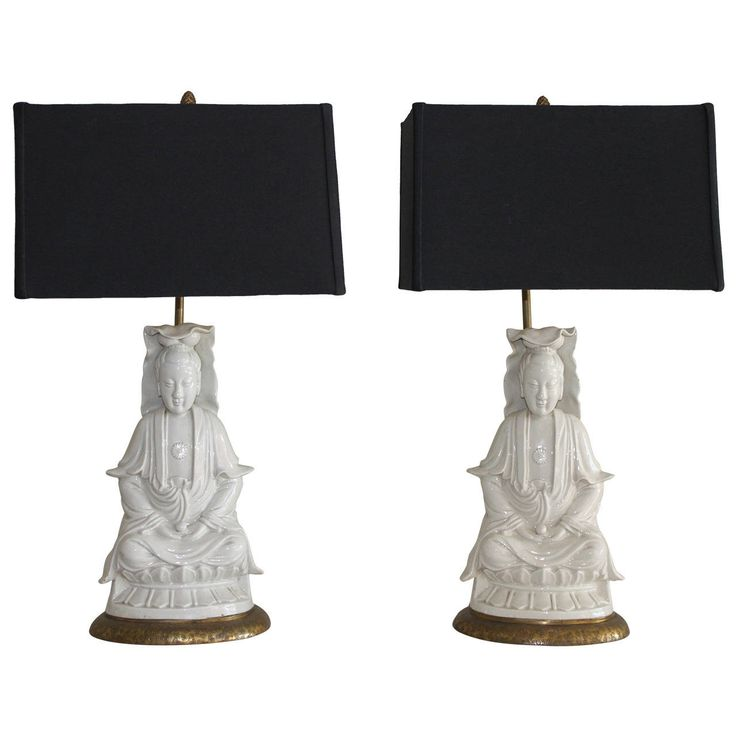 Pair of Blanc de Chine Seated Buddha Lamps, 19th Century | From a unique collection of antique and modern table lamps at https://www.1stdibs.com/furniture/lighting/table-lamps/
