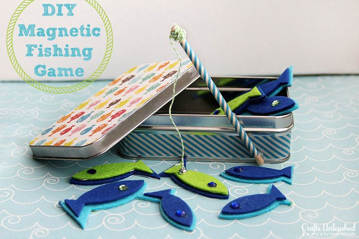 DIY Purse-sized Magnetic Fishing Game For Kids-no tools needed for assembly, great kids craft, full tutorial.