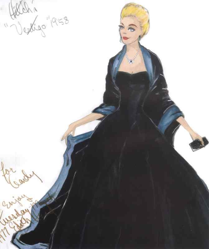 Edith Head Costume Sketch for Kim Novak - Vertigo.  Released in 1958 but production in SF was during 1957.