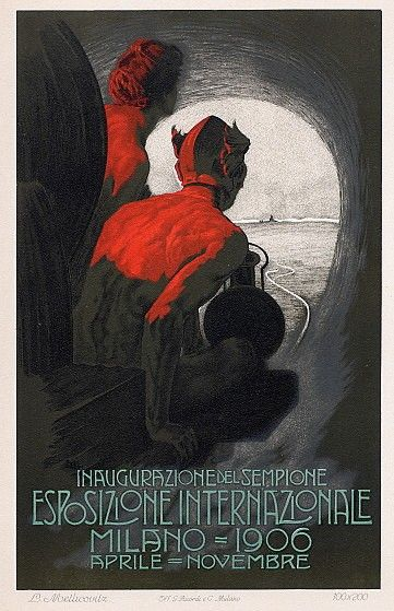 A dramatic poster announcing the Esposizione Internationale in Milan, Italy, 1906, by Leopoldo Metlicovitz.