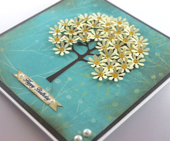 Birthday Card Handmade Card Flower Tree Shabby by CardamomsArt