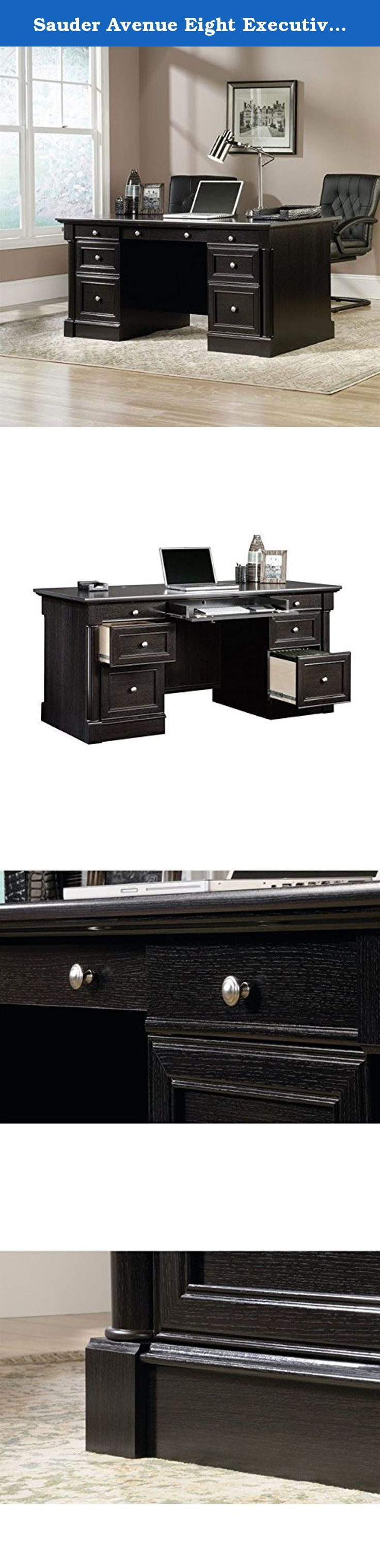 Sauder Avenue Eight Executive Desk. You don't have to make a boss's salary to furnish your office like you're CEO. The Sauder Avenue Eight Executive Bank is as sophisticated design crafted of solid wood in a dark wind oak finish. In addition to its generous top and captivating looks, the desk also features a flip-down keyboard tray, two pencil drawers, and two large lower file drawers perfect for hanging legal-size files. About Sauder Sauder is North America's leading producer of...
