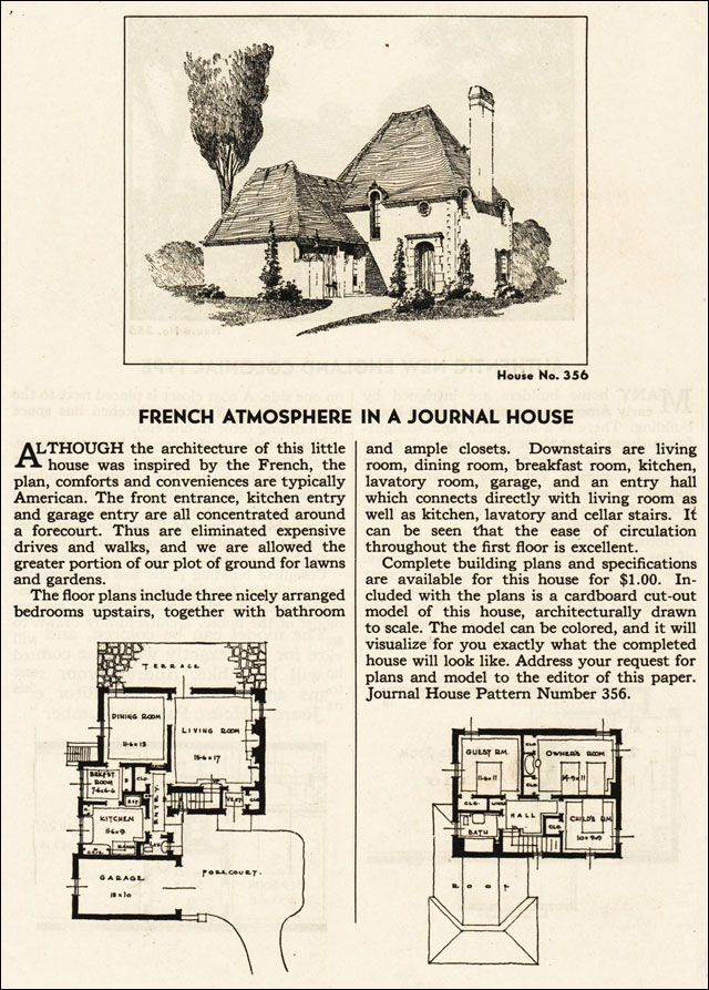 Design No. 356 1935 Ladies Home Journal House Pattern Catalog