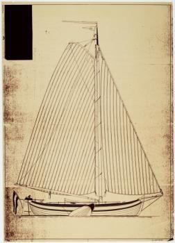 Twee scheepsbouwtekeningen van de boeier Constanter.    Fries Scheepvaartmuseum   Stelwagen, L.  date1955