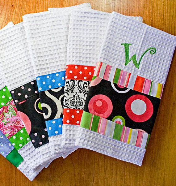Hand Towels with Ribbon and Fabric Trim