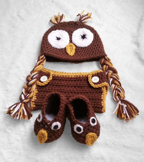 Baby owl set, photo prop, newborn pictures, baby boy, baby girl, owl hat, owl booties, diaper cover