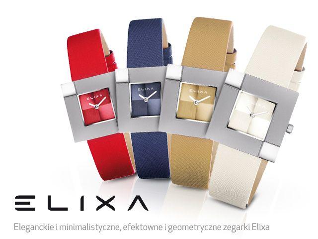 Czas do kwadratu Nowe damskie wzory zegarków Elixa już dostępne w kilku wersjach kolorystycznych. Koperta zegarka  w kształcie kwadratu wykonana z tytanu.   Proste i minimalistyczne, a zarazem eleganckie i efektowne!