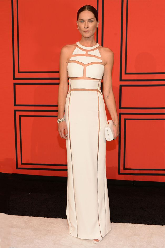 la modella mafia Erin Wasson in a white cutout Alexander Wang dress at the 2013 CFDA Fashion Awards