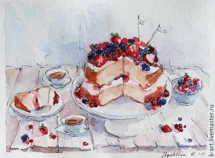 """Натюрморт ручной работы. Ярмарка Мастеров - ручная работа. Купить Миниатюра """"Ягодный пирог"""". Handmade. Бежевый, ежевика, сладкий вечер"""