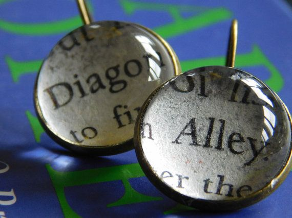 Harry Potter earrings  Diagon Alley  by UpcycledBookClub on Etsy