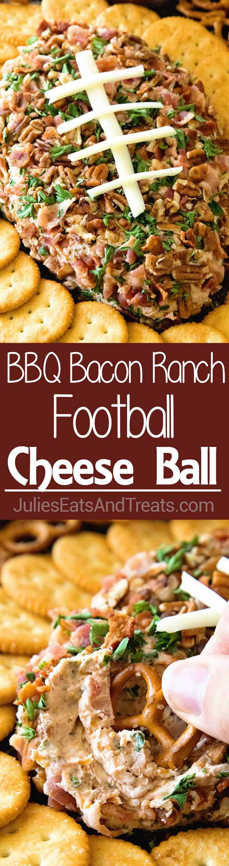 BBQ Bacon Ranch Football Cheese Ball ~ How to Make The Perfectly, Delicious BBQ Chicken Bacon Ranch Football Recipe! Loaded with Cheese, BBQ Sauce, Bacon, Pecans and Made into the Shape of Football! Perfect Tailgating Recipe!