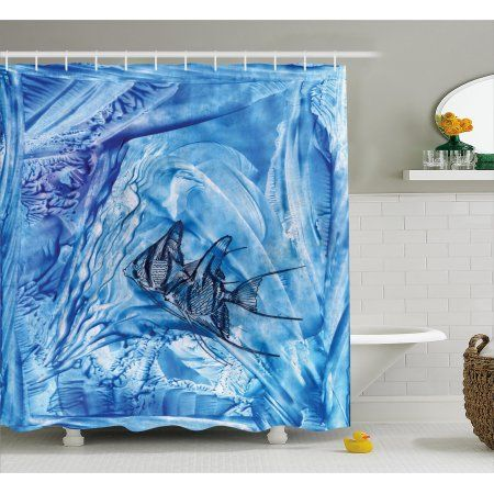 Watercolor Flower House Decor Shower Curtain, Small Fish in Creepy