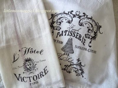 Tea Towels Using TAP or Transfer Artist Paper by Lesley Riley from Little Miss Maggie -- I've tried it on tea towels with good results, now want to try it on flour sack towels. These make nice, little gifts.