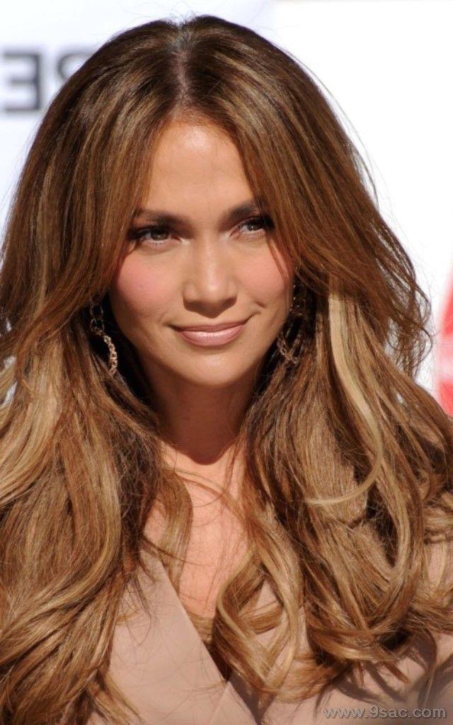 Açık kahve rengi saç ışıltıları Jennifer Lopez