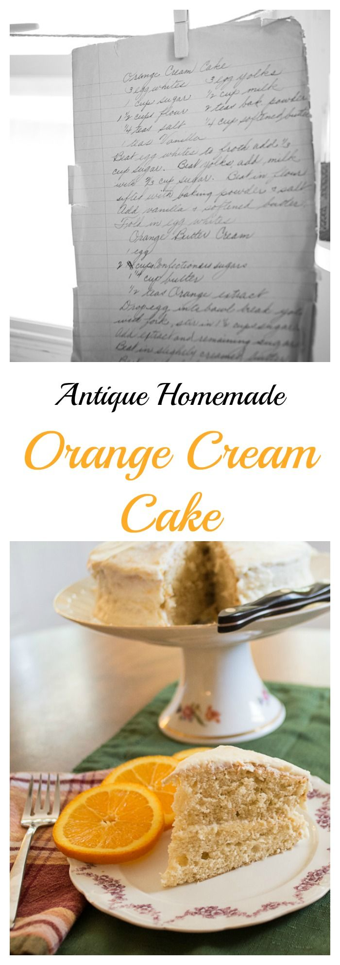 Old time handwritten recipe for Orange Cream Cake - bloggingwithapples.com