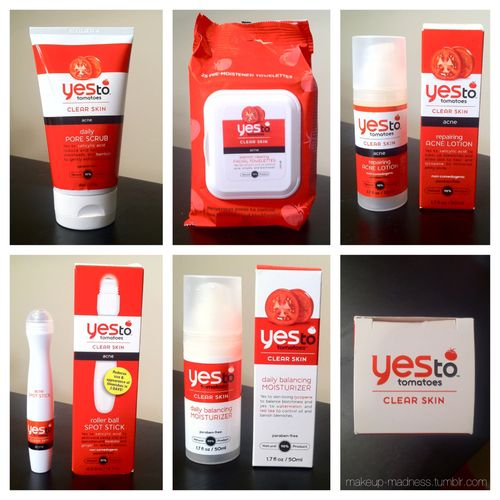 Yes To Tomatoes!  After the skin care chat we had on here a short bit ago, Yes To was nice enough to send me some skin care products to try out and review. I specifically asked for products from their Yes To Tomatoes line since I know there are several of my followers who struggle with acne. To really put these products to the test, I tried them out at a time of the month (ahem) where my skin is stubborn and breakouts take over. Here are my thoughts:  Daily Pore Scrub - I'm used to dealing w
