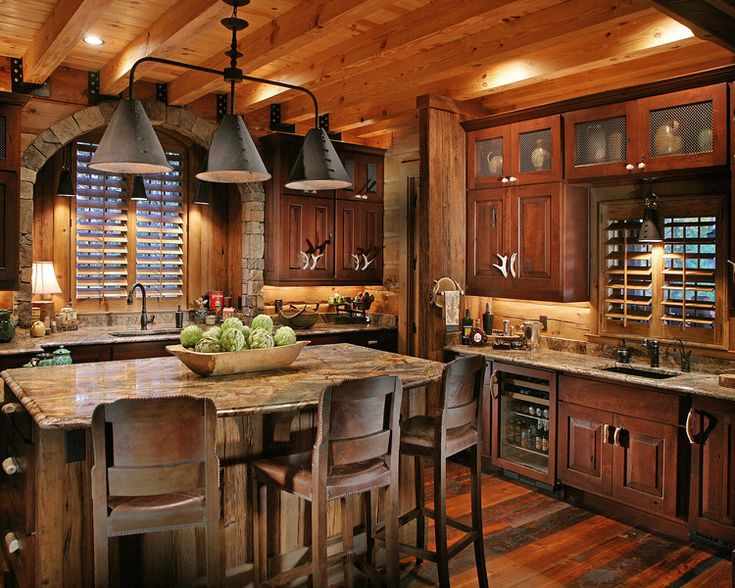 Rustic Kitchen, Log home...