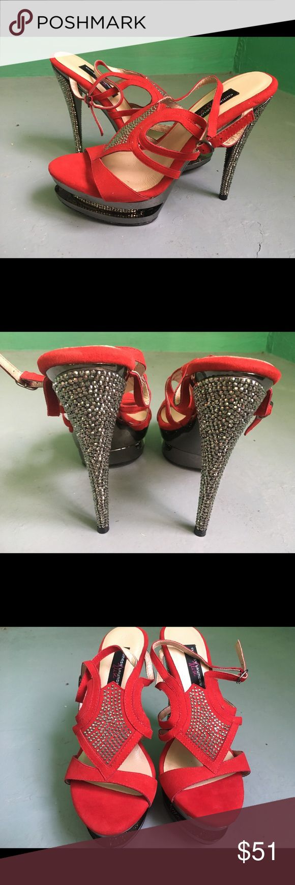 Chinese Laundry Elise Red heels with bling OMG, these are fantasy shoes! Red with sparkling heels and a blinged out platform. Chinese Laundry Shoes Heels