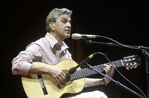 Caetano Emanuel Viana Telles Veloso (born August 7, 1942), better known as Caetano Veloso, is a Brazilian composer, singer, guitarist, writer, and political activist. Veloso first became known for his participation in the Brazilian musical movement Tropicalismo, which encompassed theatre, poetry and music in the 1960s, at the beginning of the Brazilian military dictatorship.