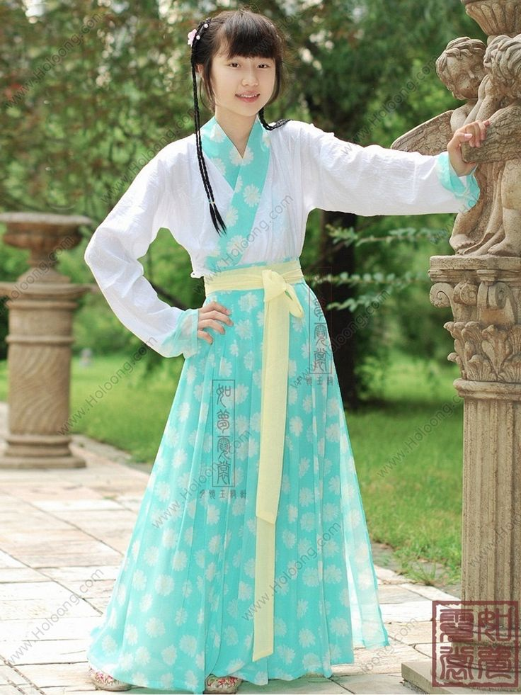 Women's Chiffon Green Skirt Ruqun dress Tang Dynasty Hanfu Clothing - USD $ 207.00