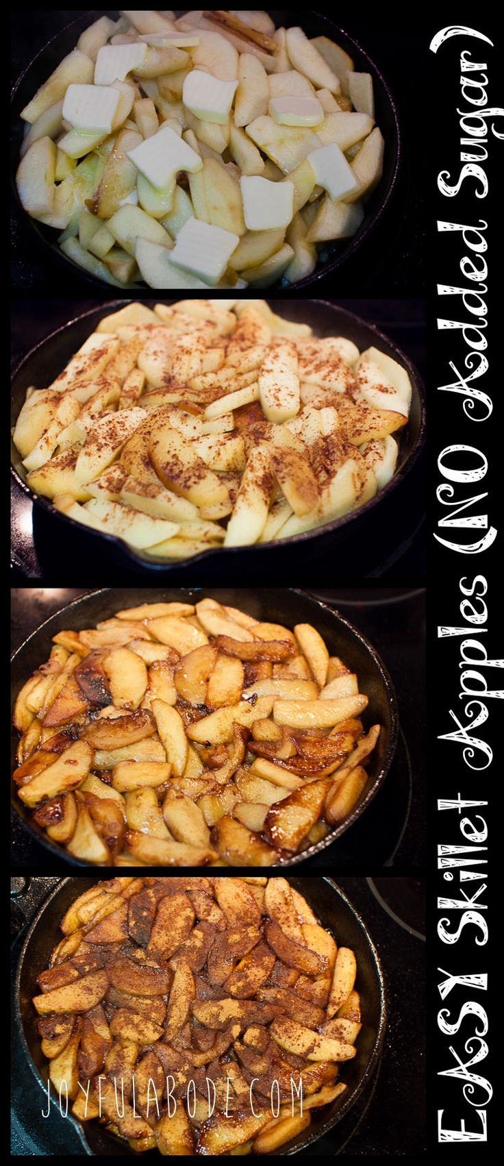 how to make cooked cinnamon apples recipe / skillet apples with no added sugar