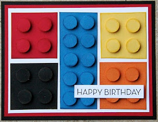 Lego Birthday Card--You really need to use the double mat so the blocks fit in nicely. I used a 1/2 inch circle punch for the raised dots and the squares were 1 1/2 inches. LOVE this card! Would make fun thank-you cards for a lego theme party. See also, lego bag on craft board.