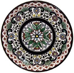 These colorful, handmade Talavera platters are a perfect highlight to any dining table, serving area, or wall. The platters are ideal for serving any type of food or drink in Southwest style.  As decoration, the platters will make a colorful addition to any room's decor.  This particular platter is beautifully handcrafted and hand-painted by the studio of Tomas Huerta.  Each authentic piece is made in Puebla, Mexico and is 100% lead free; chip resistant; and microwave, oven, and dishwasher…