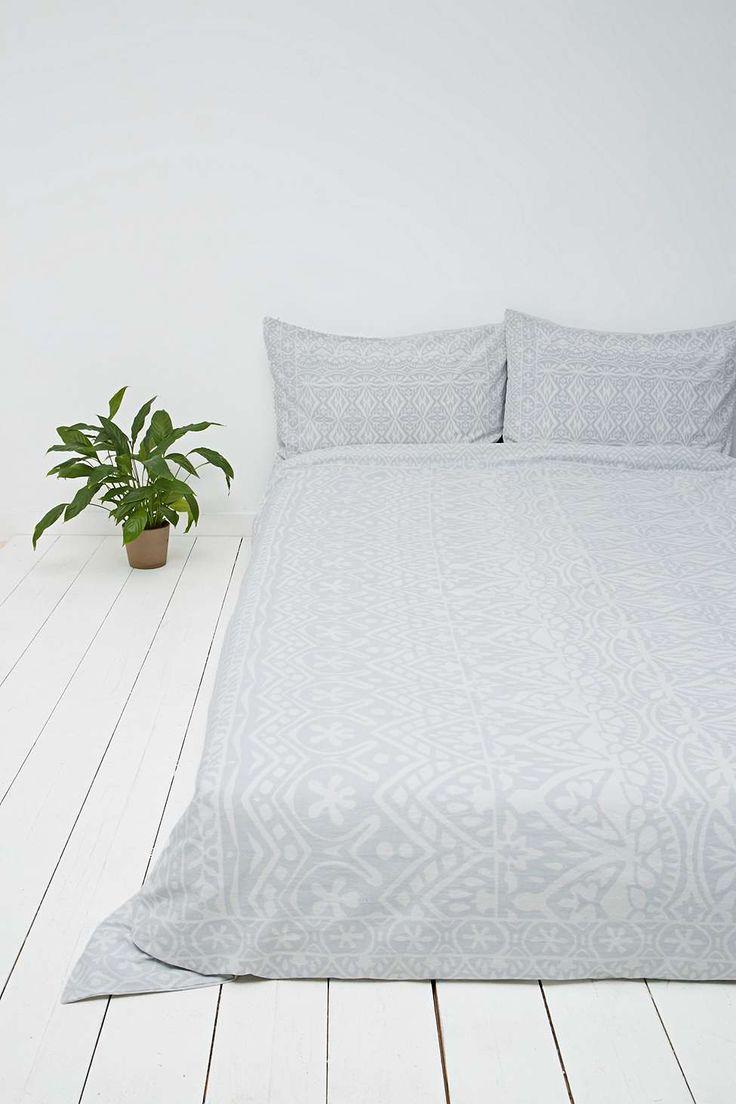 Housse de couette grise motif pour grand lit queen size for Housse de duvet