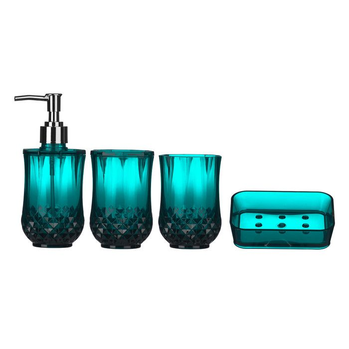 all home cristallo 4 piece bathroom accessory set reviews wayfair uk - Blue Bathroom Accessories Uk